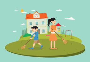 Free Teacher And Student Cleaning Yard Vector