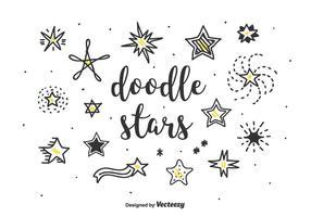 doodle stjärnor vektor uppsättning