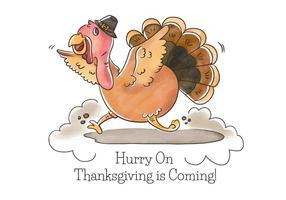 Caractère mignon de la Turquie avec le vecteur de chapeau de Thanksgiving