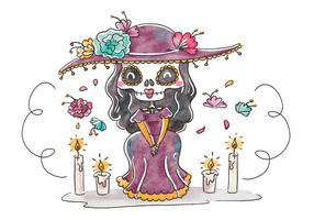 Cute Catrina Character Smiling With Floral Elements para Dia De Muertos Vector