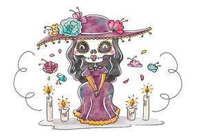 Cute Catrina carácter sonriendo con elementos florales para Dia De Muertos Vector