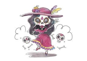 Cute Catrina Character Dancing And Smiling para Dia De Muertos Vector