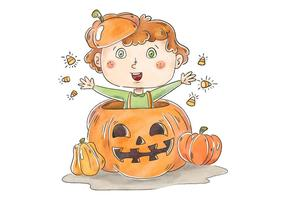 Cute Kid Smiling Inside A Pumpkin With Halloween Candies