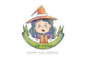 Pequeño vector lindo de la bruja de Halloween