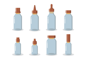 Bottle with Stoppers Icons Vector