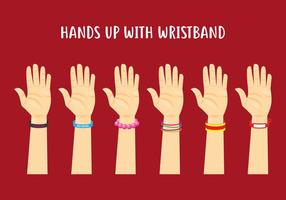 Hands Up With Wristband vector