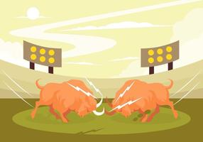 Crazy Bull Fight Vector