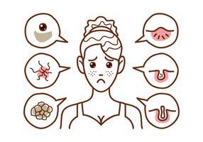 Chica Facial Problema Doodle Vectores
