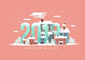 Happy New Year 2018 Snow Scene Vector Illustration