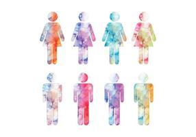 Vector Waterverf Man en Vrouw Symbolen