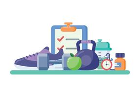 Fitness Equipment In Flat Design Style