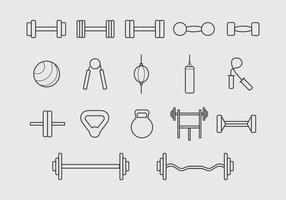 Linea icona degli strumenti della palestra Vettore