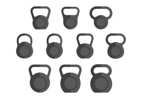 Flat Kettle Bell Clipart Vectors