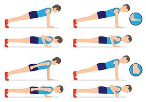 Men Doing Push Ups Flat Vectors