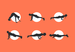 Pushup Man e Woman Silhouettes Free Vector Pack