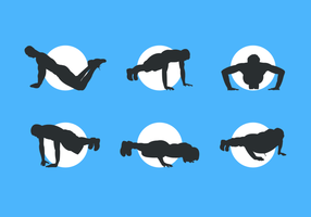 Man Silhouettes Göra Pushup Gratis Vector Pack