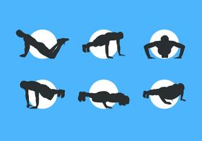 silhuetas de homem fazendo pushup pacote de vetores grátis
