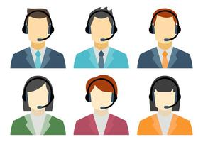 Call Center Avatar Vectors