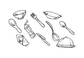 Free Cutlery Hand Drawn Vector