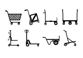 Hand trolley vector icons