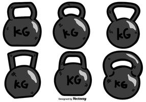 Vector Cartoon Kettle Bell Icon Set På Vit Bakgrund