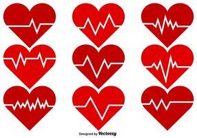 Ícones de cor do vetor de ritmo cardíaco