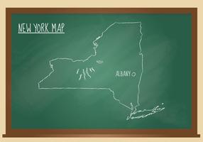 New York Map Chalk Black Board Vector
