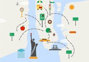 Mapa de Nueva York Sights Vector