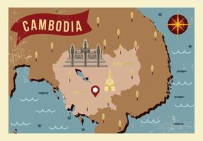 Vintage Kambodja Map Vector