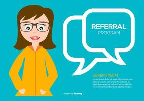 Cute Flat Style Referral Program Illustration
