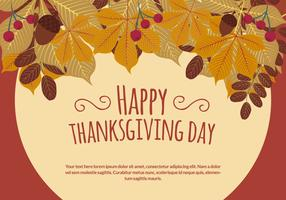 Thanksgiving Illustration with Autuimn Leaves
