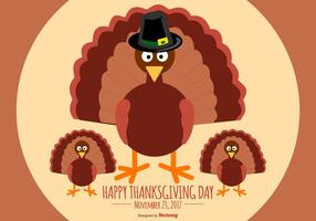 Flat Style Happy Thanksgiving Turkije Illustratie