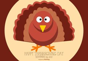 Gullig Flat Style Glad Thanksgiving Turkiet Illustration