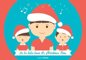 Cute Christmas Carolers illustratiion plana