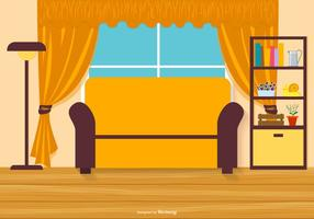Vector Flat Style Living Room Illustration with Laminate Floor