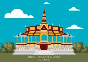 Flat Style Cambodja National Museum Illustration