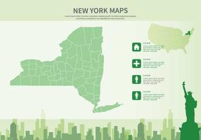 Green New York Map Illustration