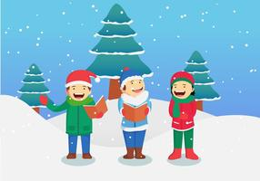 Children Singing Christmas Carols Vector Illustration