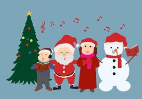 Carolers With Santa Vector