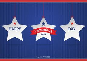 Happy Columbus Day 2017 Background With White Hanging Stars