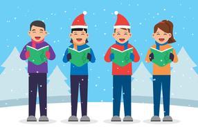 Niños cantando villancicos ilustración