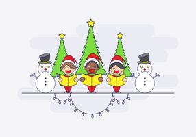 Carolers con vector de muñecos de nieve