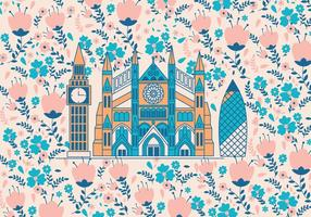 Westminster Abbey with Flowers Pattern Vector