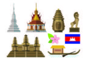 Set Of Cambodia Icon vector