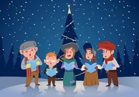 Kid Group of Carolers Vector