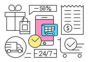 Linear Shopping Vector Illustration