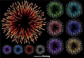 Vector Set Of Multicolored Firework Illustration On Black Background
