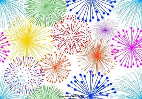 Vector Multicolor Firework sin fin patrón sobre fondo blanco