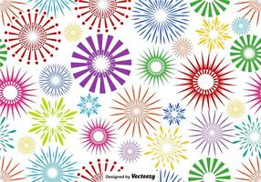 Vector Multicolored Firework Endless Pattern On White Background