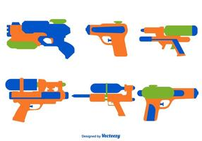 Vector Set Of Color Water Gun Icons